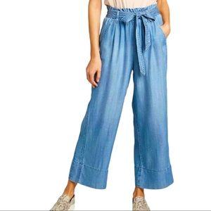Knox Rose Size L Tie-Front Denim Cropped Pants
